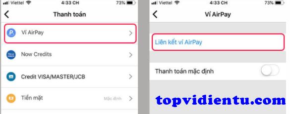 cách liên kết ví AirPay với Now