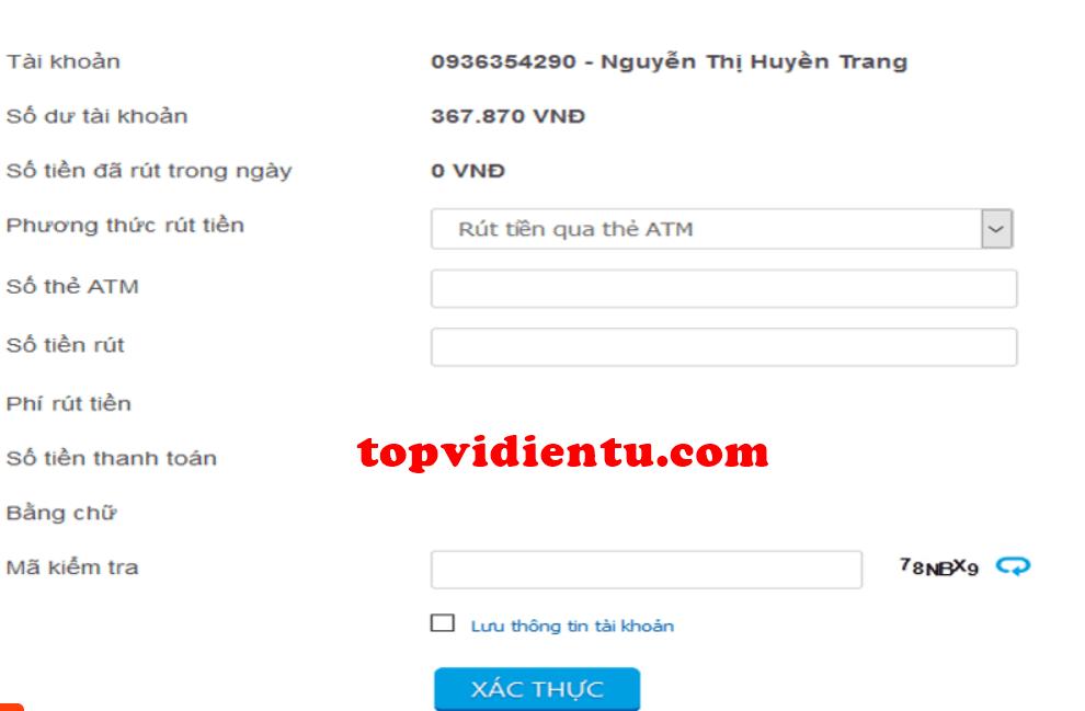 rút tiền từ ví VTC pay