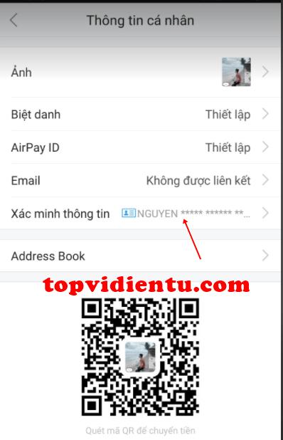 thay đổi số CMND trên AirPay