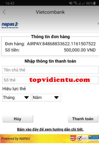 Nạp tiền vào ví airpay bằng internet banking