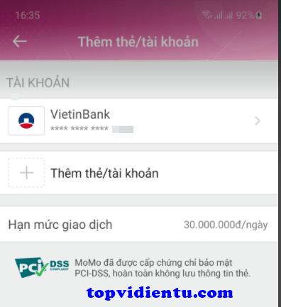 liên kết momo với bidv smart banking