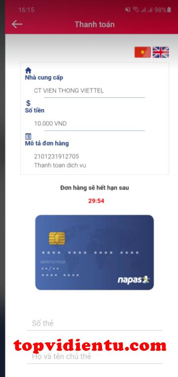 liên kết viettelpay với vietcombank