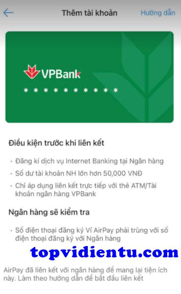 Cách liên kết AirPay với VPBank