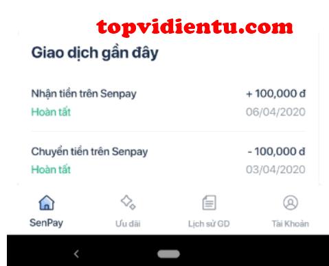 Biểu phí nạp tiền SenPay
