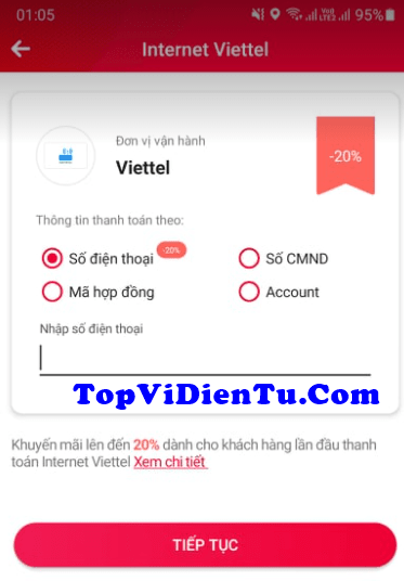 cách thanh toán cước Internet Viettel qua ViettelPay