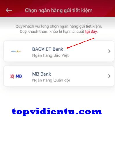 Cách gửi tiết kiệm online Bảo Việt bank trên ViettelPay