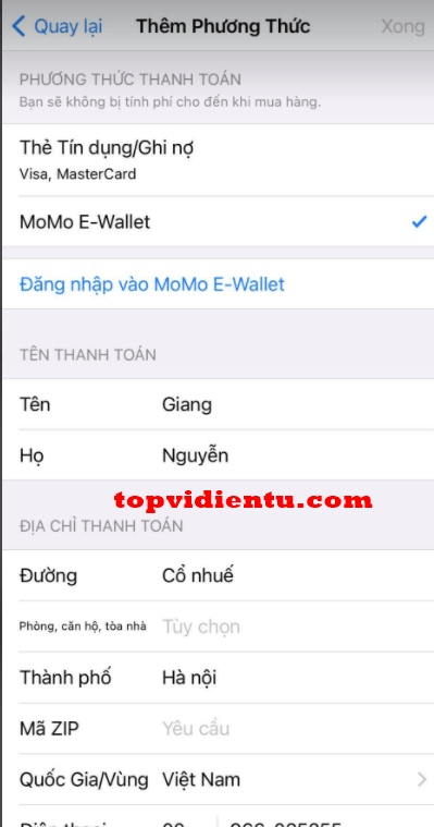 Lỗi liên kết MoMo với App Store