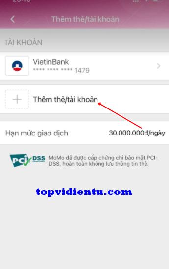 liên kết MoMo với ngân hàng Sacombank