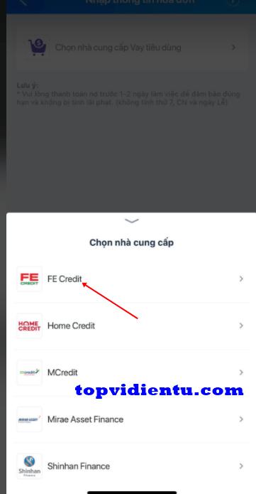 cách thanh toán FE CREDIT qua Zalo Pay