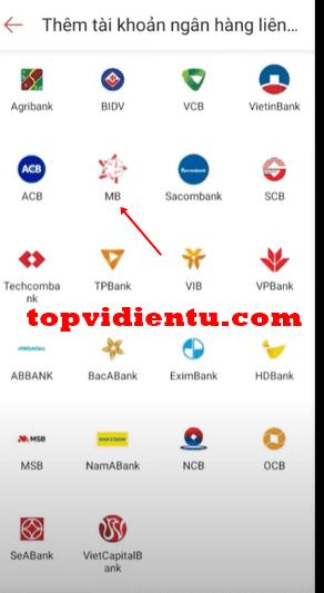 liên kết shopeepay với MB Bank
